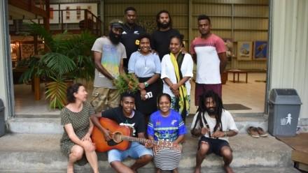 Participants in Vanuatu Artists Fellowship Arts Development Workshop October 2019 Fondation Suzanne Gallery Port Vila.