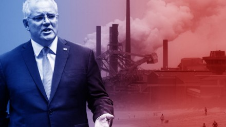 An edited photograph of Scott Morrison superimposed over a coal-fired power station.