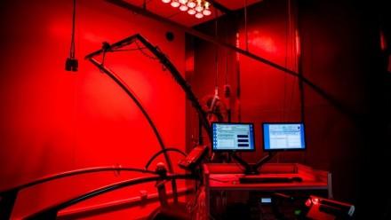 A photograph of the setup at Sydney University's Thermal Ergonomics Laboratory