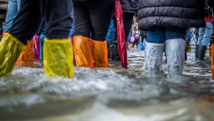 A photograph of people's legs and feet in flood-water, wearing colourful water protection sleeves on their legs.