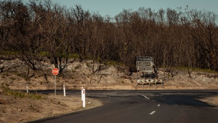 A photograph of a section of road leading up to a stop sign, with the surrounding bushland all burnt and charred from a recent bushfire.