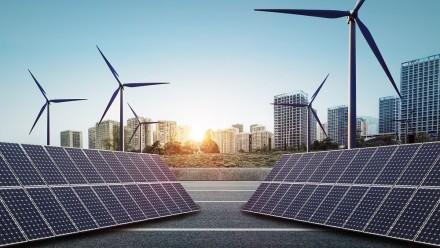 Wind, solar energy city, Shutterstock