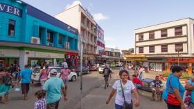 A photograph of people walking around in Suva, Fiji.