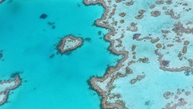 An aerial photograph of the Great Barrier Reef.